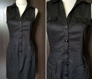 H&M Sleeveless Button Black Dress